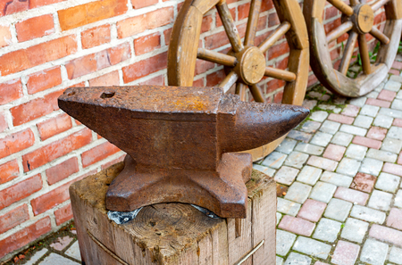 Old rusty blacksmith anvil for iron work
