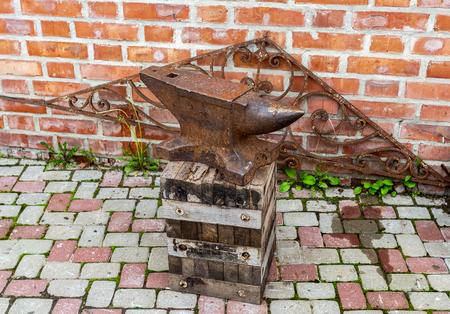 Vintage rusty blacksmith anvil for iron work