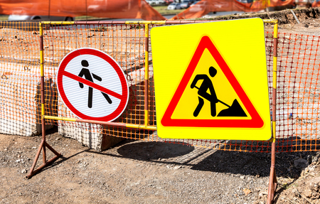 Road warning signs at the construction site Stock Photo