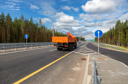 Novgorod region, Russia - August 7, 2018:  Toll road. Russian highway number M11 in summer day
