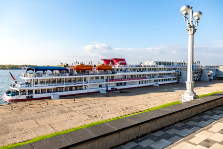 Samara, Russia - September 22, 2018: River cruise passenger ship moored at the pier on Volga river Standard-Bild - 117244319