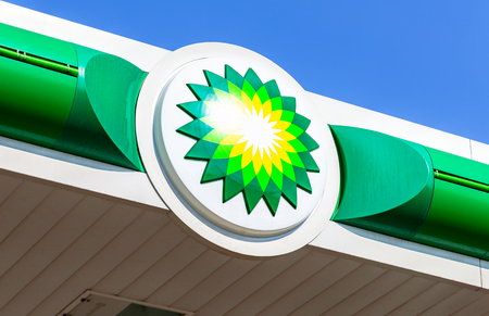 Moscow, Russia - August 17, 2017: BP - British Petroleum petrol station logo over blue sky. British Petroleum is a British multinational oil and gas company Editorial