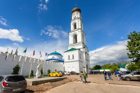 Kazan, Russia - June 11, 2018: Raifa Bogoroditsky monastery near the Kazan.  Bell tower of the church of the Archangel Michael