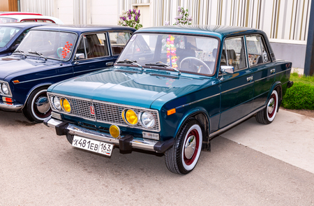 Samara, Russia - May 19, 2018: Vintage Russian automobile Lada-2106 at the parade of old cars and motor show