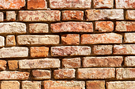 Brick wall as background texture. Grungy bricks masonry Stock Photo