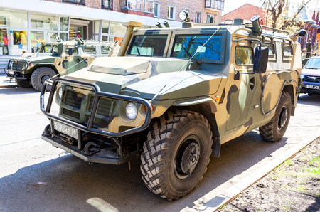Samara, Russia - May 5, 2018: High-mobility vehicles GAZ-2330 Tigr is a Russian 4x4, multipurpose, all-terrain infantry mobility vehicle in camouflage colors Editöryel