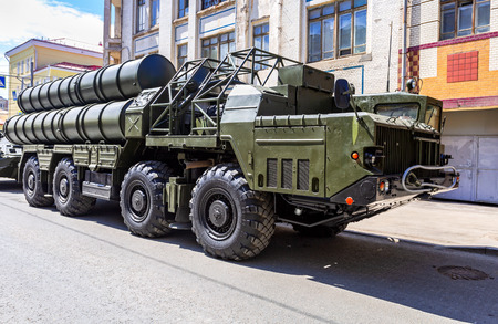 Samara, Russia - May 5, 2018: Russian anti-aircraft missile system (SAM) S-300 parked up on the city street