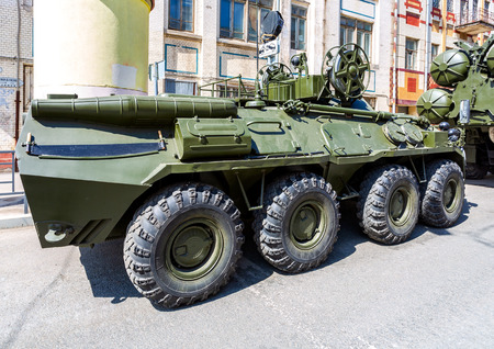 Samara, Russia - May 5, 2018: Wheeled armored recovery vehicle ARV-K based on the BTR-80 at the city street before the parade