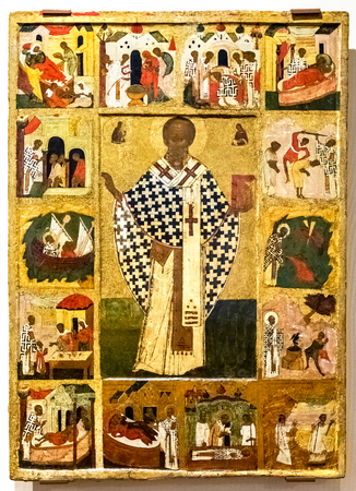 Veliky Novgorod, Russia - August 17, 2017: Antique Russian orthodox icon. St Nicholas with Scenes from his Life, 16th century