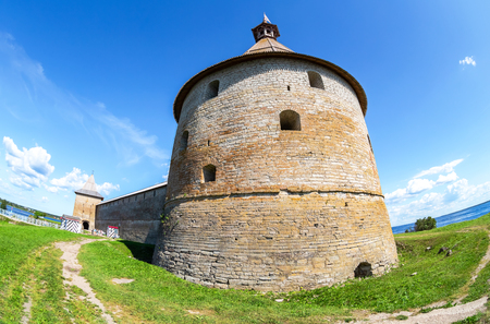 Shlisselburg, Russia - August 8, 2018: Historical fortress Oreshek is an ancient Russian fortress. Shlisselburg Fortress near the St. Petersburg, Russia. Founded in 1323