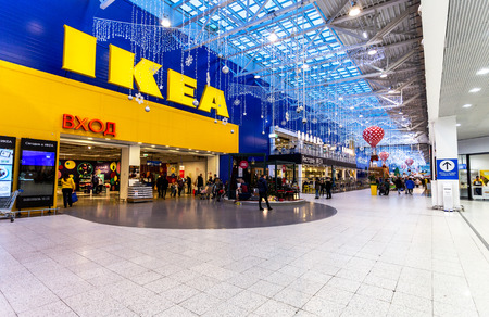Samara, Russia - November 18, 2018: Interior the IKEA Store. IKEA is the world's largest furniture retailer, founded in Sweden Redactioneel