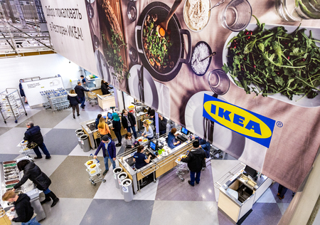 Samara, Russia - November 18, 2018: Restaurant in the IKEA Store. IKEA is the world's largest furniture retailer, founded in Sweden Redactioneel