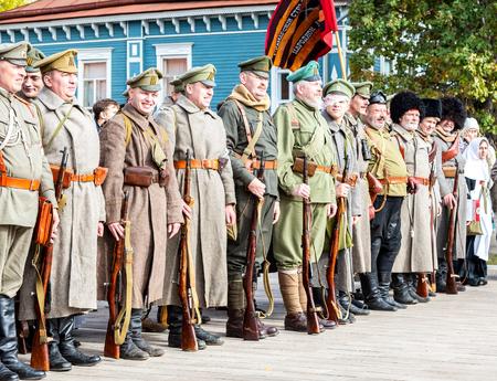 Samara, Russia - October 6, 2018: Unidentified members of historical reenactment battle in the Russian Civil War in 1918