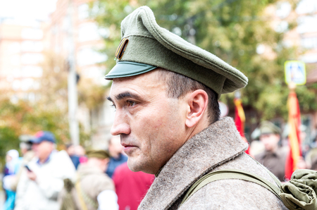 Samara, Russia - October 6, 2018: Unidentified member of historical reenactment battle in army uniform during the Russian Civil War in 1918 Redakční
