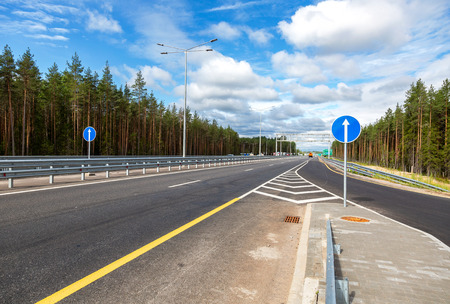 Russian highway number M11 from Moscow to St. Petersburg in summer day