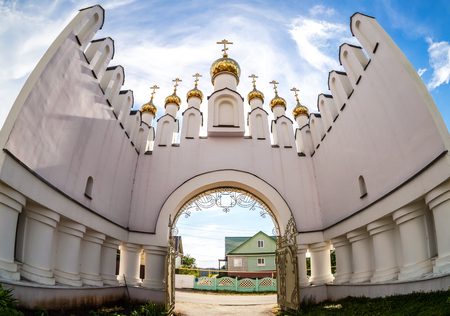 Gate in the Holy-Varsonofievsky Pokrovo-Selischenskiy nunnery in Mordovia, Russia