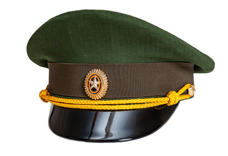 Uniform cap of Russian army officer isolated on white background