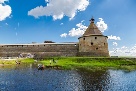Shlisselburg, Russia - August 8, 2018: Historical Oreshek fortress is an ancient Russian fortress. Shlisselburg Fortress near the St. Petersburg, Russia 新聞圖片