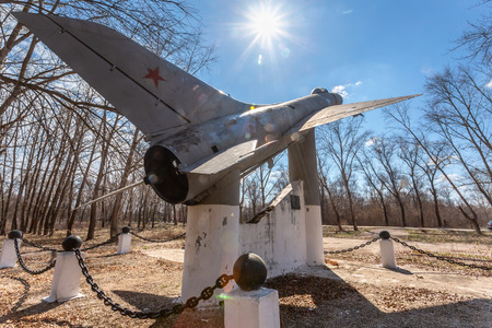 Samara region, Russia - April 13, 2019: Monument to Sukhoi Su-9 (NATO reporting name: Fishpot) was a single-engine, all-weather, missile-armed interceptor aircraft in Bobrovka