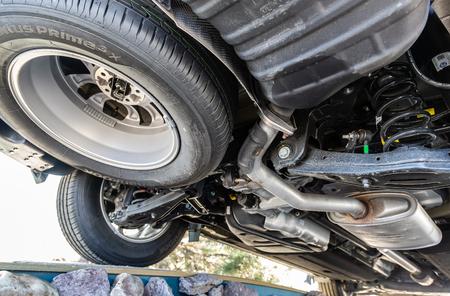 Samara, Russia - April 20, 2019: View from the bottom of the Hyundai Santa Fe vehicle