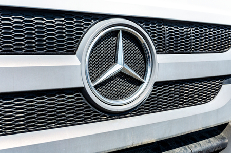Samara, Russia - May 1, 2019: Grille of a Mercedes-Benz truck with the famous star