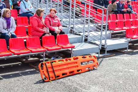 Samara, Russia - May 1, 2019: Special plastic medical stretchers near the stands for spectators during the May Day demonstration Editorial