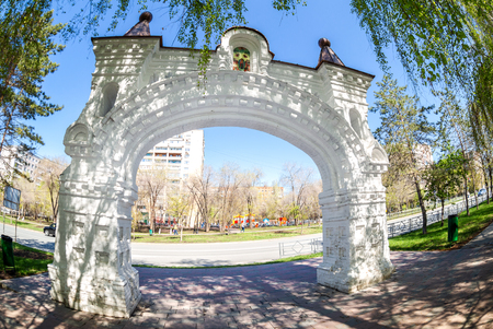 Samara, Russia - May 4, 2019: Gate of the destroyed Nikolsky male monastery. Architectural monument St. Nicholas Monastery Gate in Samara, Russia