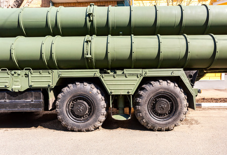 Samara, Russia - May 4, 2019: Russian anti-aircraft missile system (SAM) S-300 parked up on the city street Editorial