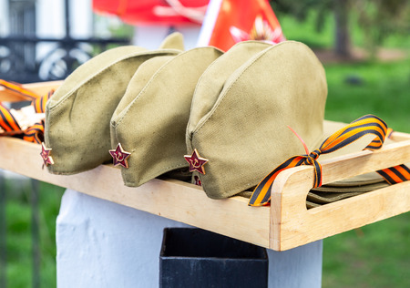 Army caps with a red stars, military uniform of soviet army