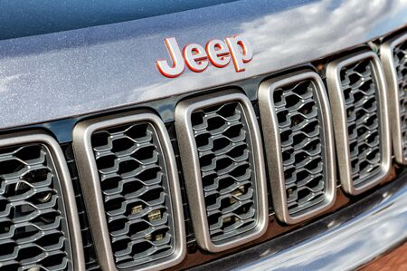 Moscow, Russia - September 8, 2019: Closeup of Jeep logo on the car. American automobile manufacturer Editorial