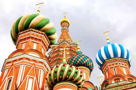 Traditional Russian architecture. Saint Basil's (Pokrovsky) Cathedral on Red Square in Moscow, Russia