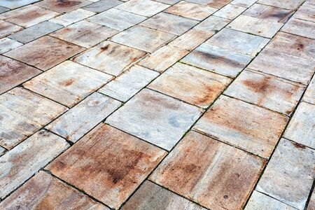 Ceramic paving stones as background texture close up
