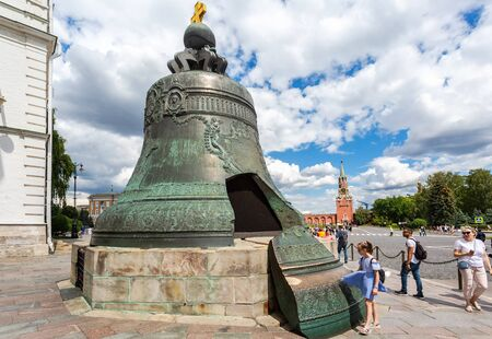 Moscow, Russia - July 9, 2019: Tsar Bell (Tsar-kolokol) in the Moscow Kremlin in summer sunny day. Cast in bronze in 1735 Editorial