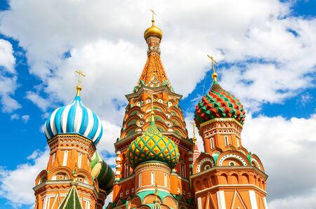 Traditional Russian architecture. Domes of Saint Basil's (Pokrovsky) Cathedral on Red Square in Moscow, Russia