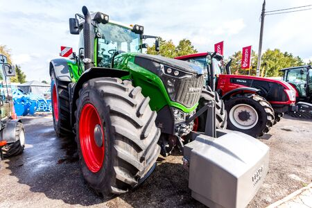 Samara, Russia - September 15, 2019: Modern agricultural wheeled tractor Fendt 1050 Vario at the annual Volga agro-industrial exhibition