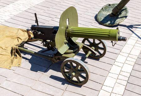 Mitrailleuse rétro de l'armée russe pendant la seconde guerre mondiale