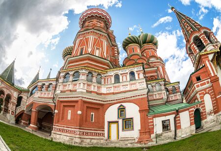 Russian ancient architecture. Domes of Saint Basil's (Pokrovsky) Cathedral on Red Square in Moscow, Russia Stock Photo