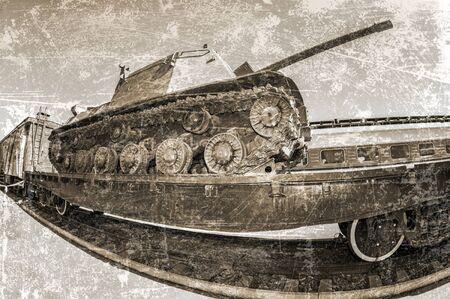 Old soviet army military tank on the railway platform
