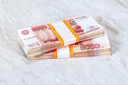 Two stack of five thousandths banknotes of russian roubles. One million rubles