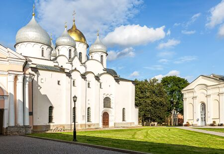 Russian orthodox St. Sophia Cathedral in Veliky Novgorod, Russia. Cathedral was founded in 1050 Stock Photo
