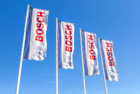 Samara, Russia - May 14, 2020: Flags with emblem Bosch against the blue sky. Robert Bosch LLC is a multinational engineering and electronics company Editorial