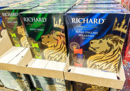 Samara, Russia - December 7, 2019: Packaged Richard tea ready for sale on the shelf at the superstore Editorial