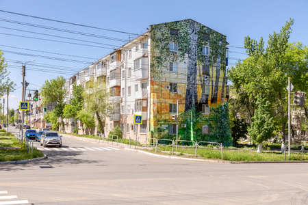 Novokuybyshevsk, Russia - May 12, 2020: Drawing on the facade of a residential building