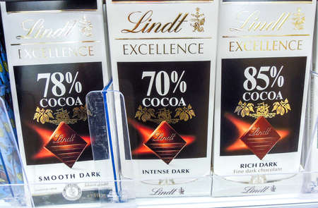 Samara, Russia - November 25, 2019: Lindt Excellence Chocolates package on supermarket shelf. Lindt is a Swiss chocolatier and confectionery company