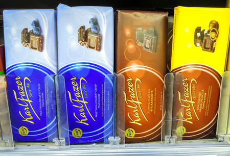 Samara, Russia - March 18, 2020: Karl Fazer chocolate ready for sale on the shelf at the superstore Editorial