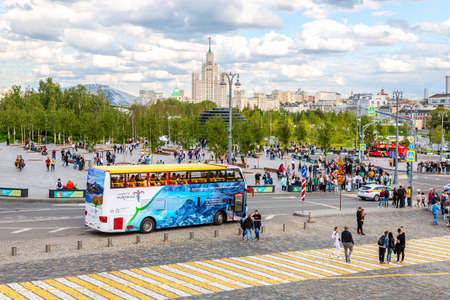 Moscow, Russia - July 7, 2019: City Sightseeing bus parked up next the Zaryadye park in sunny summer day