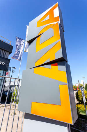 Samara, Russia - May 29, 2020: Dealership sign Lada next the office of official dealer. Lada is a Russian automobile manufacturer Editorial