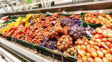 Samara, Russia - June 1, 2019: Fresh potatoes ready for sale in superstore Editorial