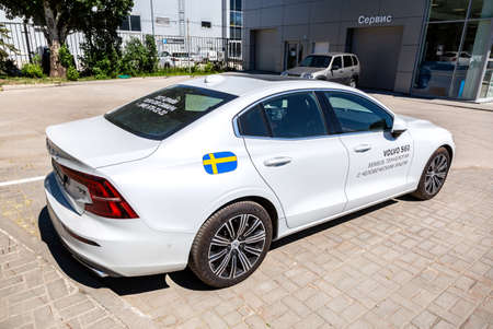 Samara, Russia - May 29, 2020: Volvo S60 near the office of official dealer