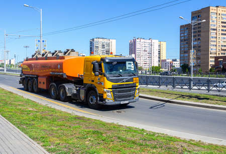 Samara, Russia - May 29, 2020: Rosneft fuel truck rides on city street. Rosneft is Russian state-controlled oil company Editorial